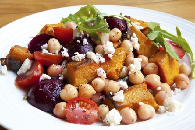 , Warm Roasted Pumpkin, Beets and Chickpea Salad